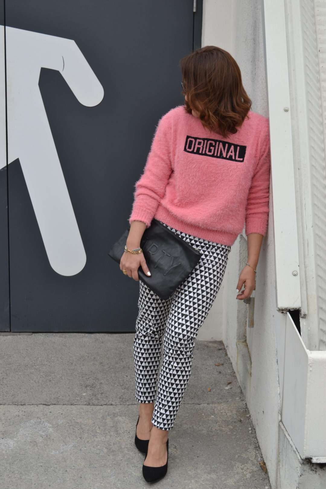 gingham trousers with pink sweater